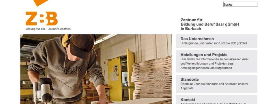 Webdesign, Website www.zbb-saar.de