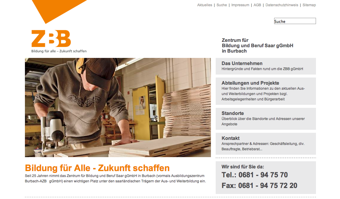 Konzept, Webdesign www.zbb-saar.de
