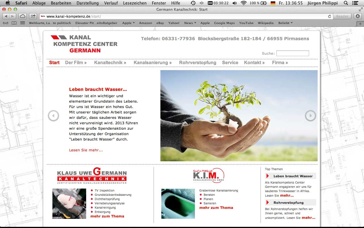 Webdesign Klaus Uwe Germann Kanaltechnik